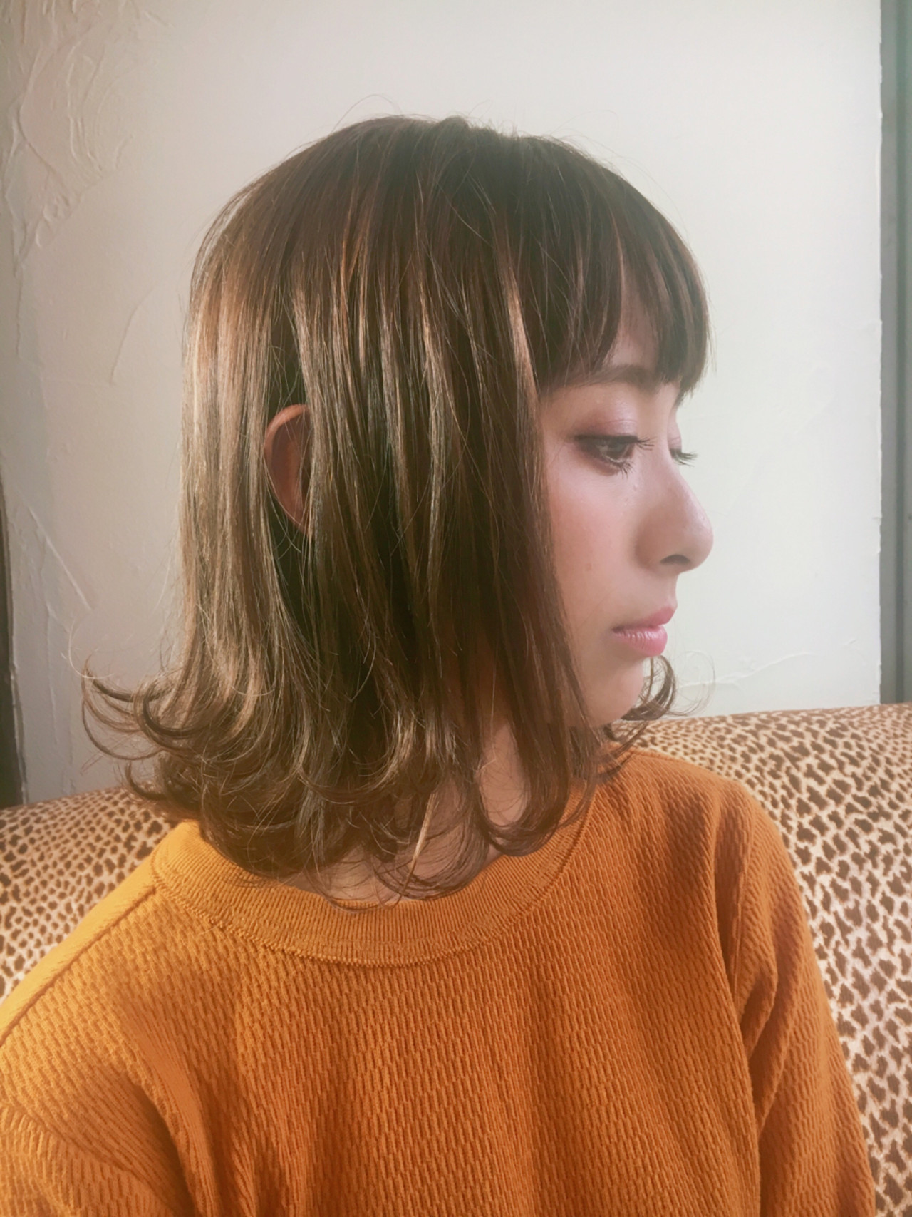 ハイライト グレージュ ミディアム ガーリー ヘアスタイルや髪型の写真・画像