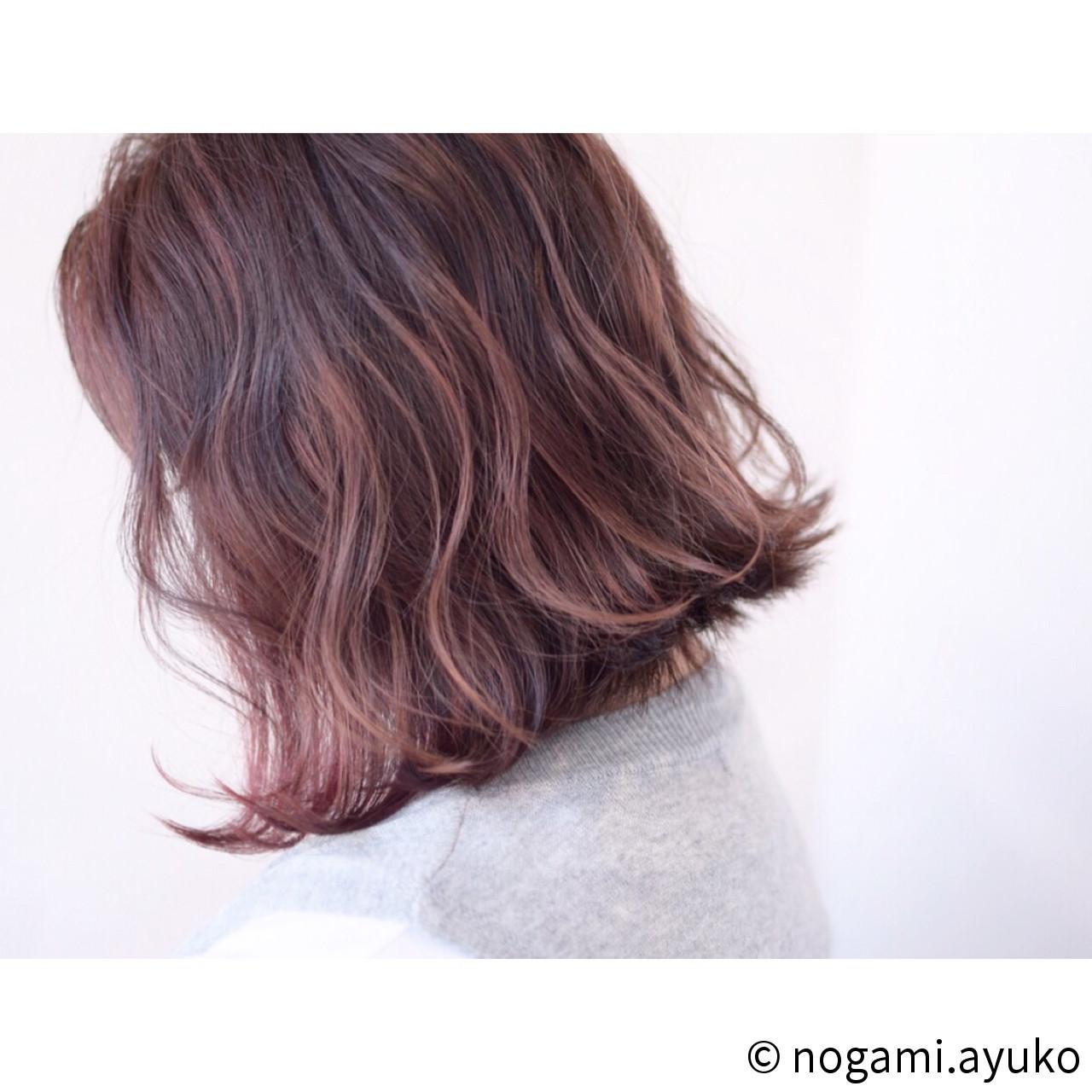カラーバター 波ウェーブ ストリート ボブ ヘアスタイルや髪型の写真・画像