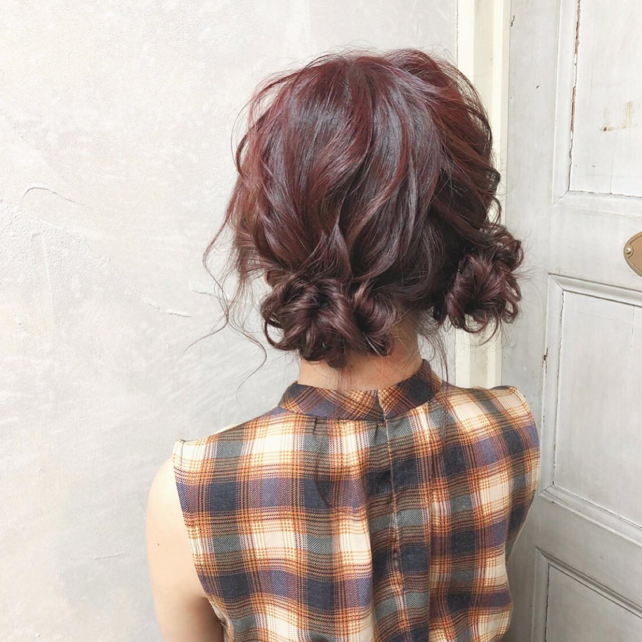 ミディアム ナチュラル お団子 簡単ヘアアレンジ ヘアスタイルや髪型の写真・画像