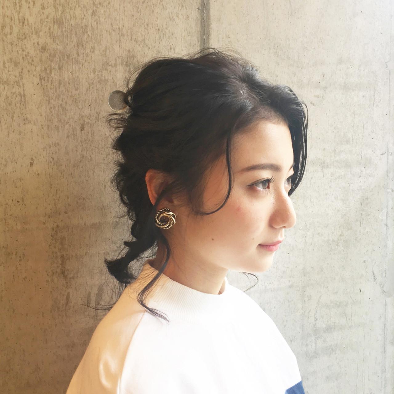 結婚式 デート 編み込み フェミニン ヘアスタイルや髪型の写真・画像