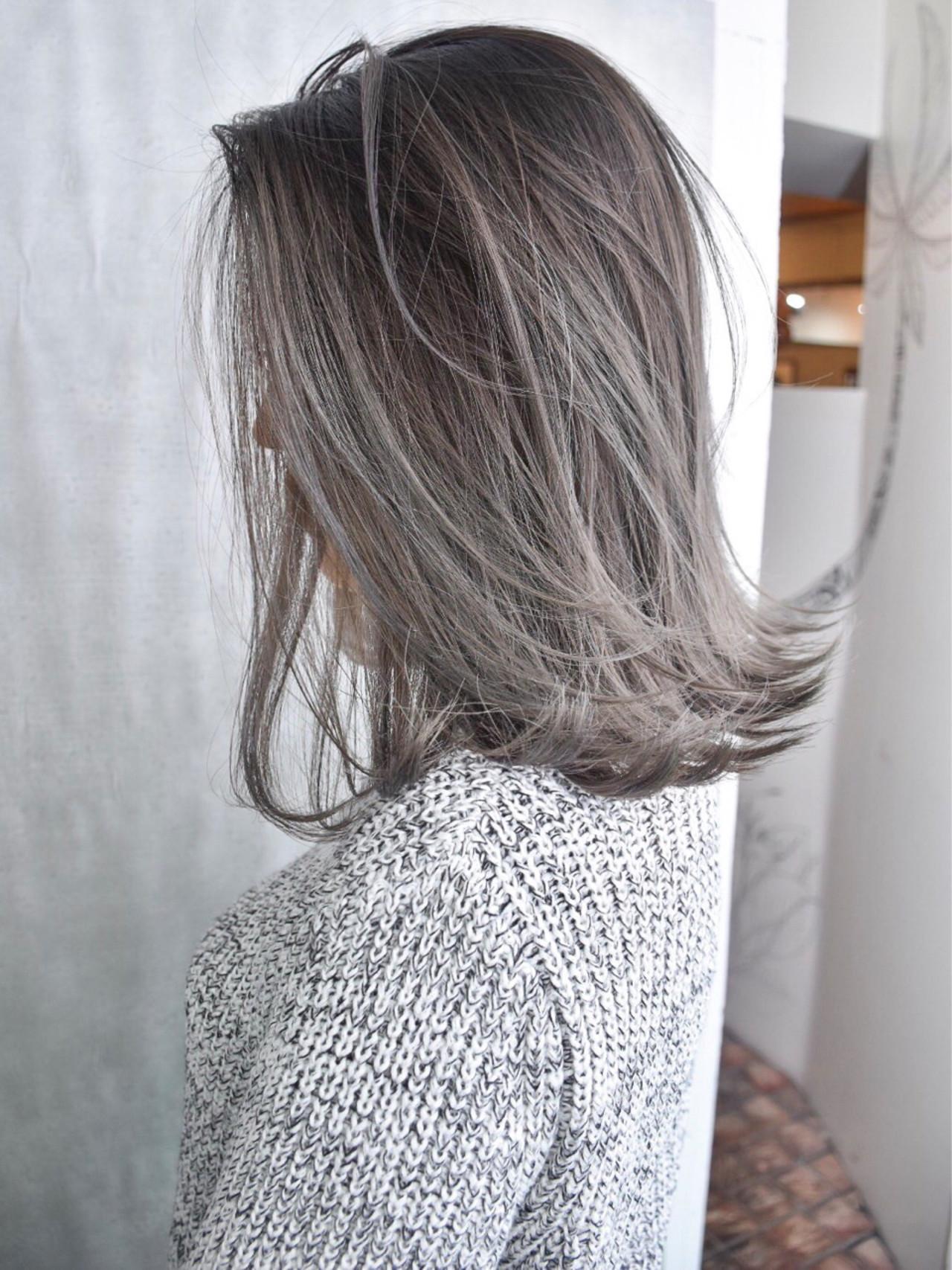 ミディアム 外国人風 外国人風カラー バレイヤージュ ヘアスタイルや髪型の写真・画像