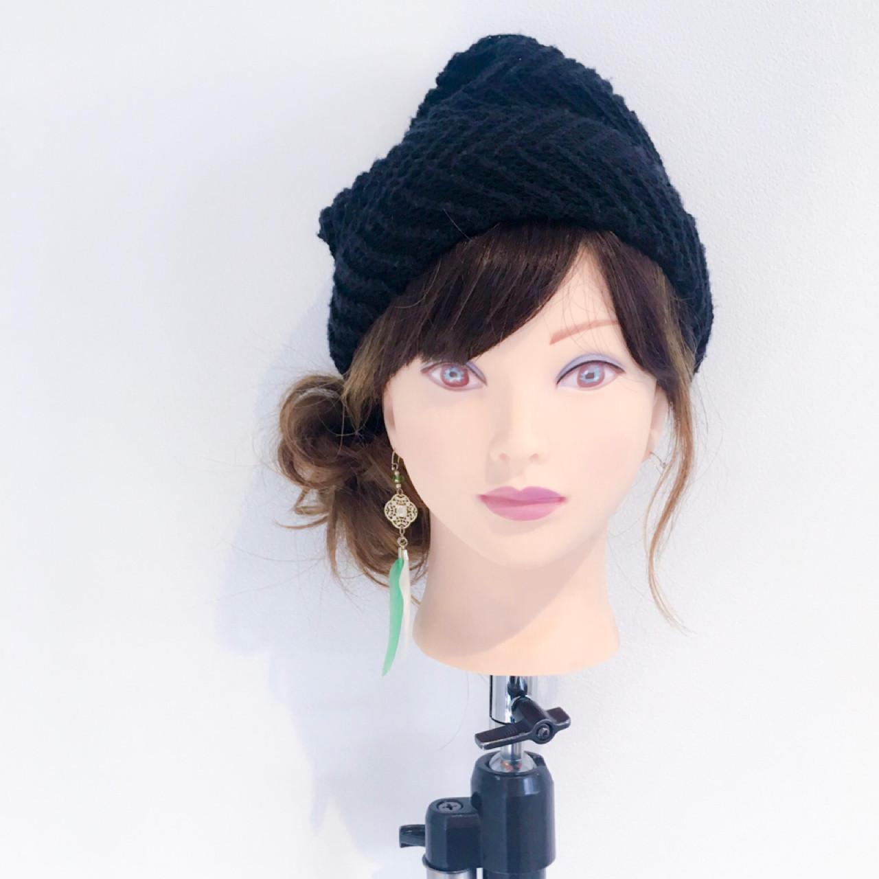 簡単ヘアアレンジ 女子会 セミロング フェミニン ヘアスタイルや髪型の写真・画像