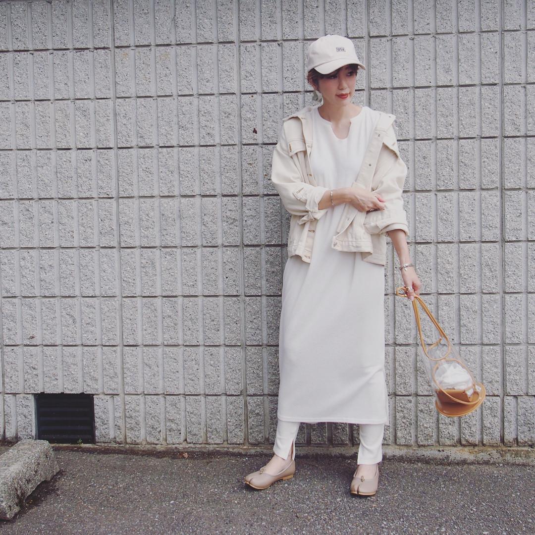ホワイトレイヤードコーデでワントーンに misato36