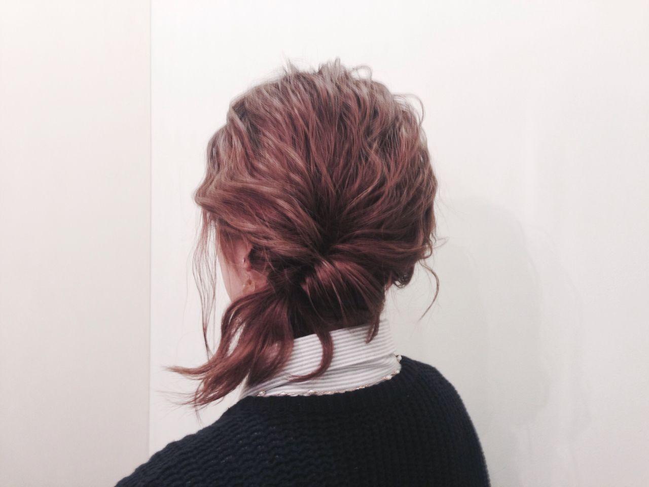ナチュラル ショート くるりんぱ 簡単ヘアアレンジ ヘアスタイルや髪型の写真・画像