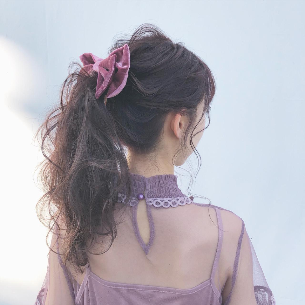 デート ガーリー 大人かわいい ポニーテール ヘアスタイルや髪型の写真・画像