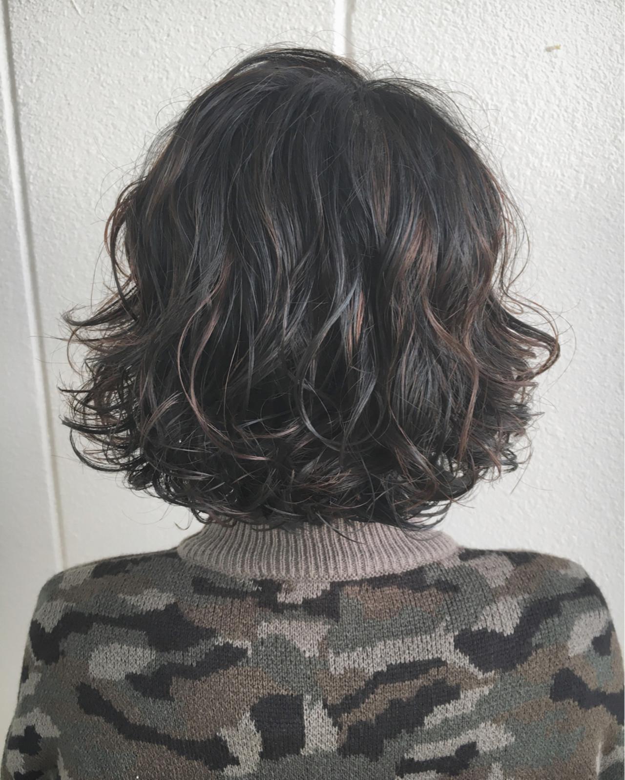 ボブ パーマ 波ウェーブ 外国人風 ヘアスタイルや髪型の写真・画像