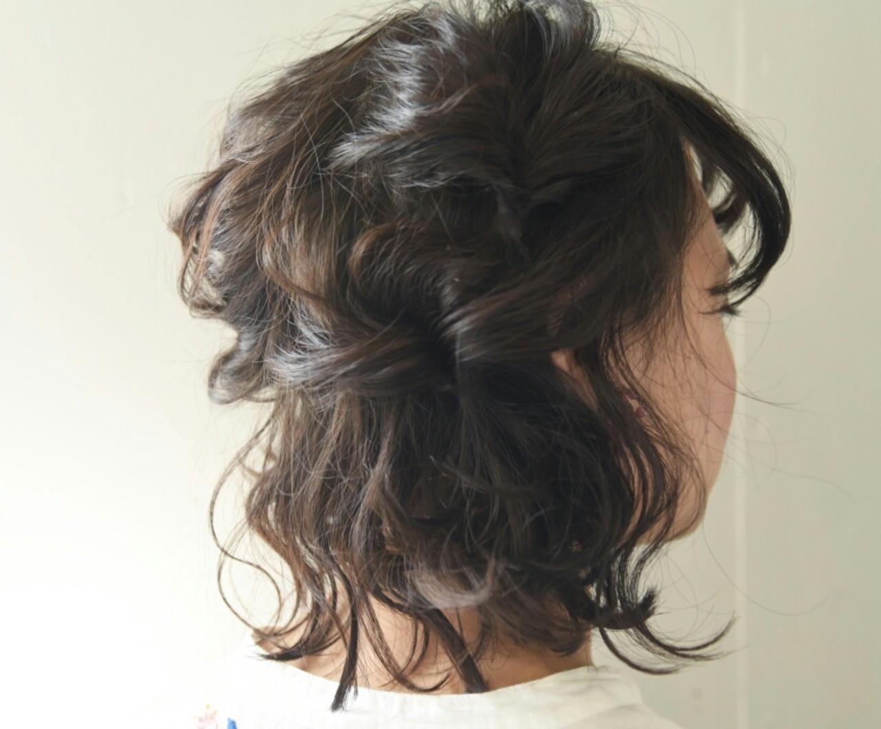 ナチュラル ボブ 簡単ヘアアレンジ デート ヘアスタイルや髪型の写真・画像