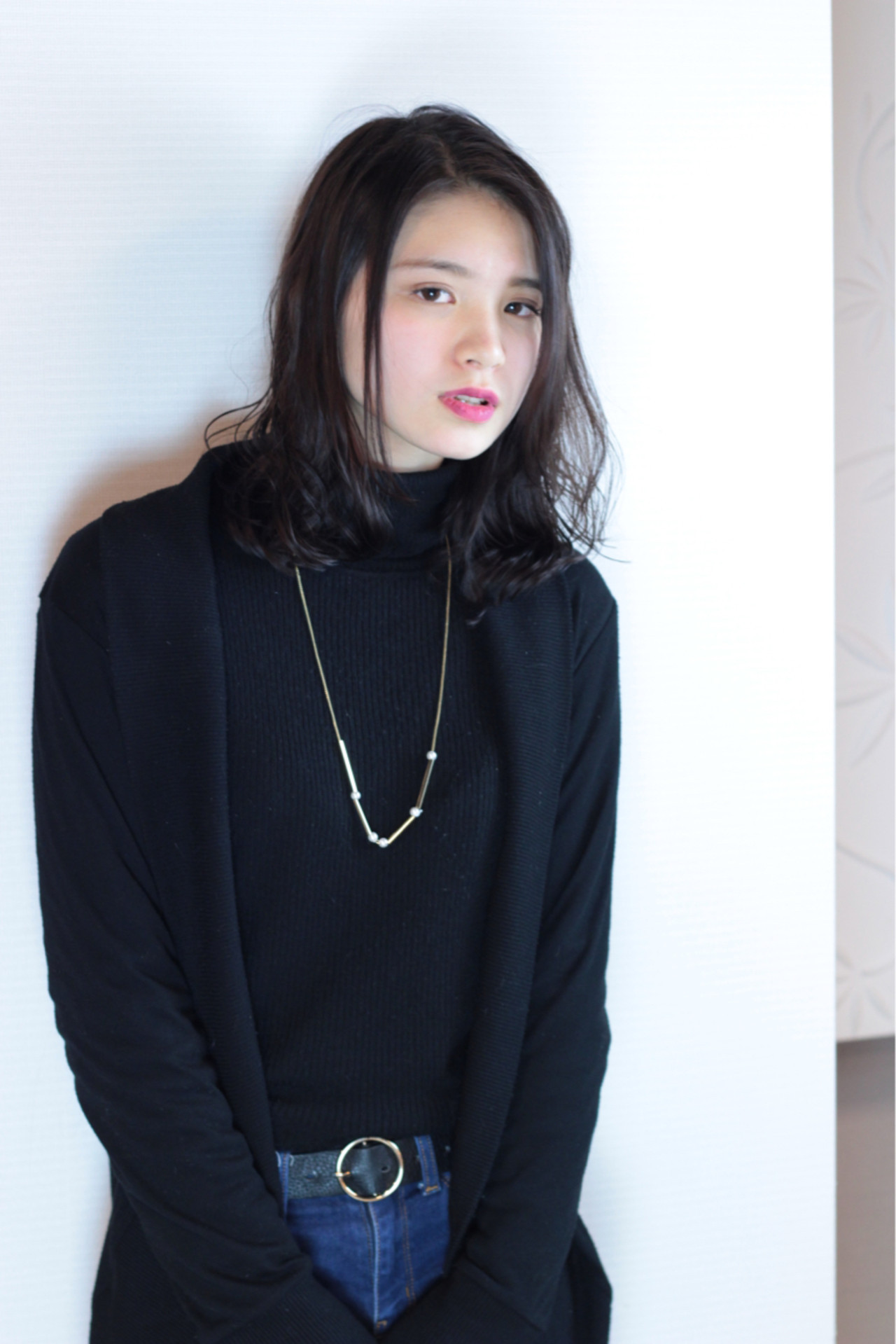 黒髪 バレンタイン 冬 アンニュイ ヘアスタイルや髪型の写真・画像