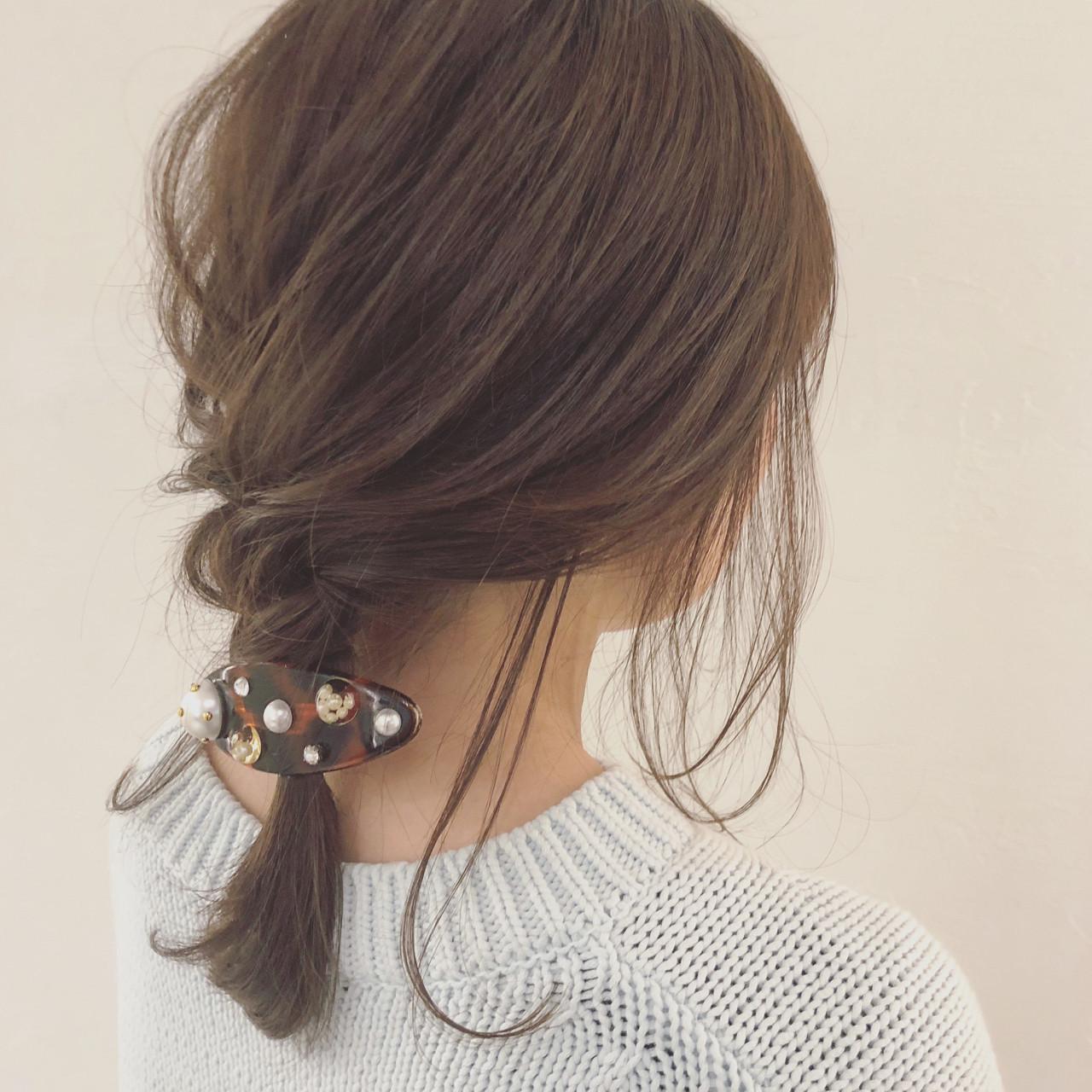 簡単ヘアアレンジ デート ミディアム ナチュラル ヘアスタイルや髪型の写真・画像