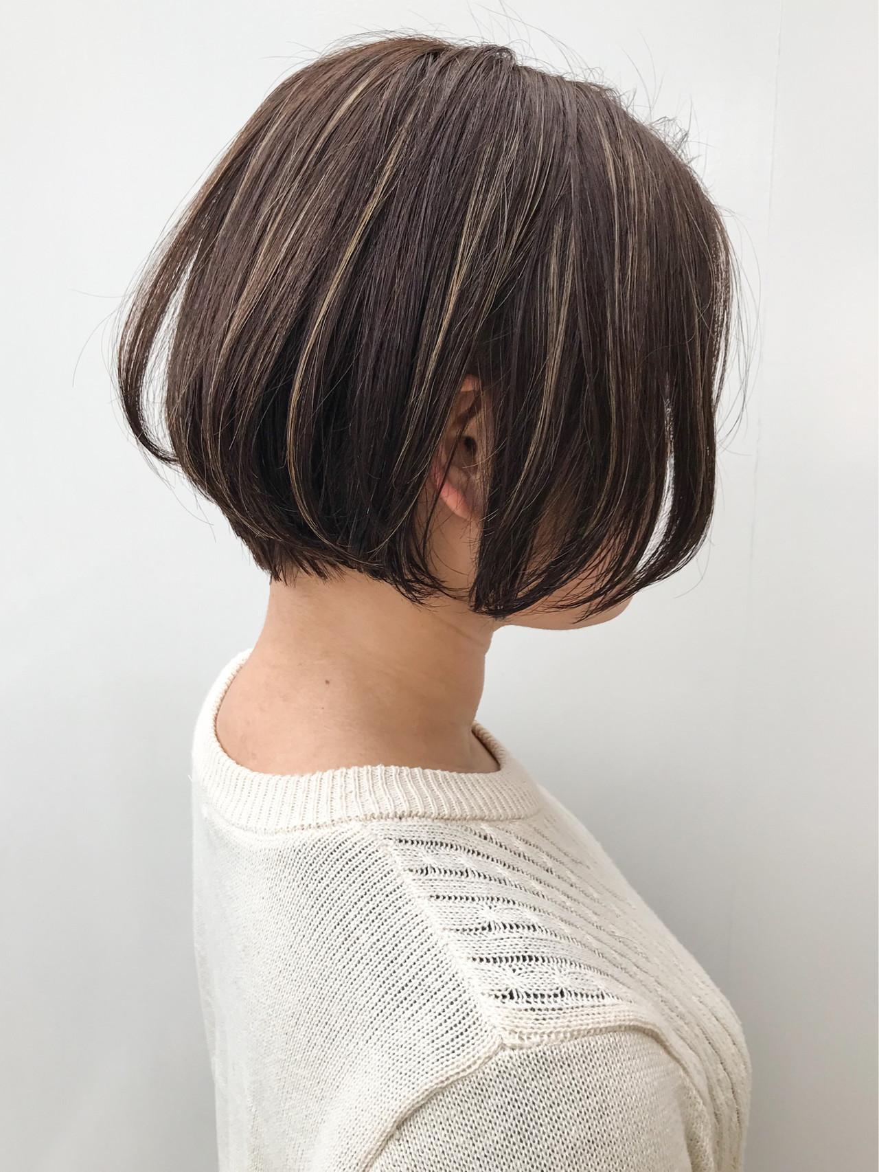 コンサバ ハイライト ショートボブ ボブ ヘアスタイルや髪型の写真・画像