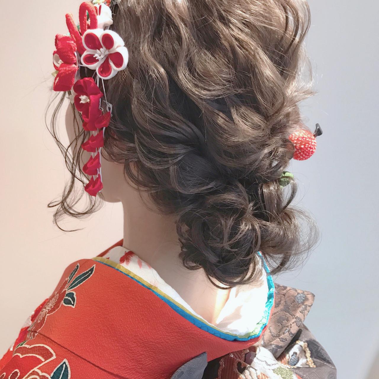 アップスタイル ロング アッシュ ヘアアレンジ ヘアスタイルや髪型の写真・画像