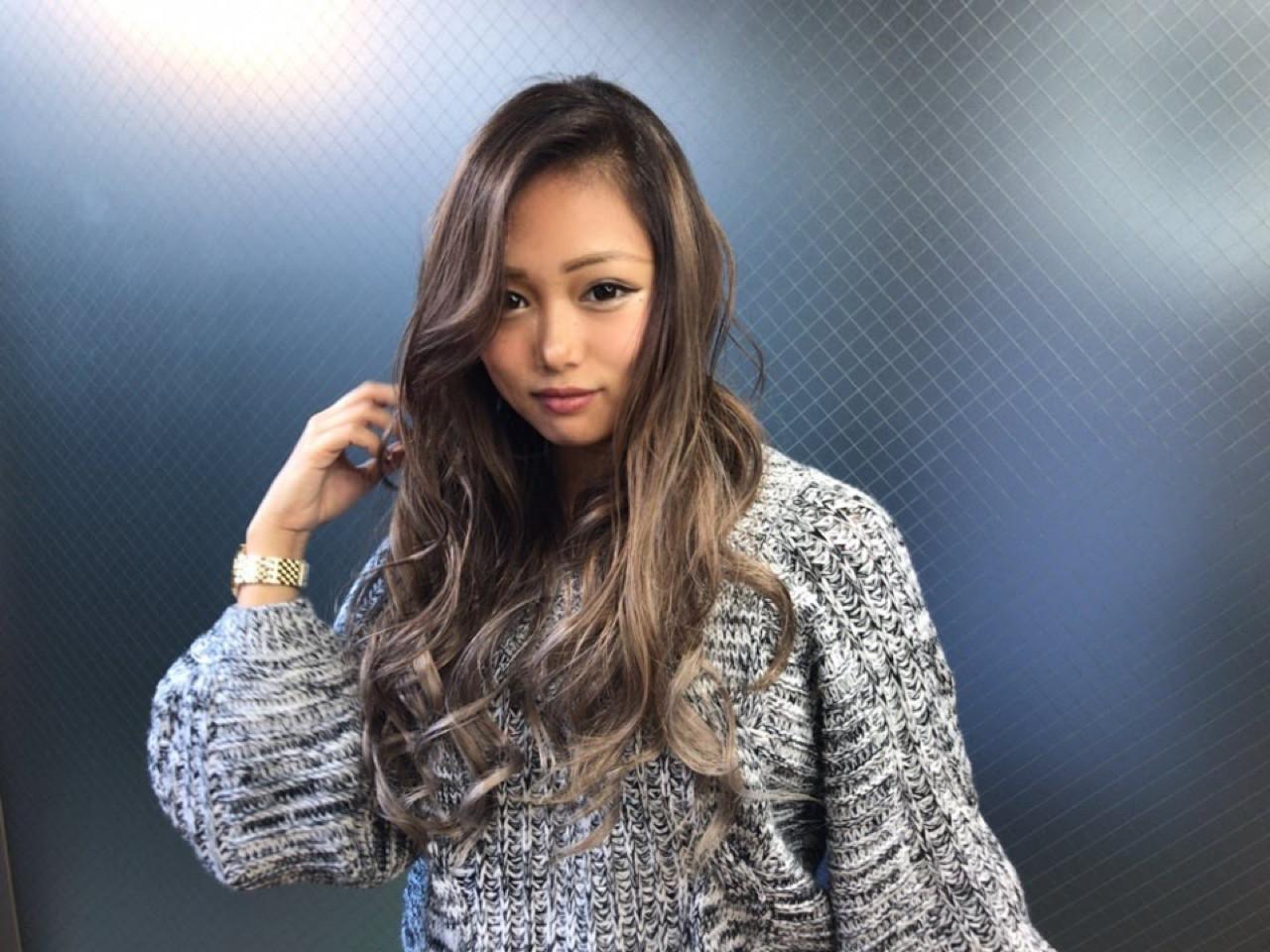 外国人風 外国人風カラー ハイライト ロング ヘアスタイルや髪型の写真・画像