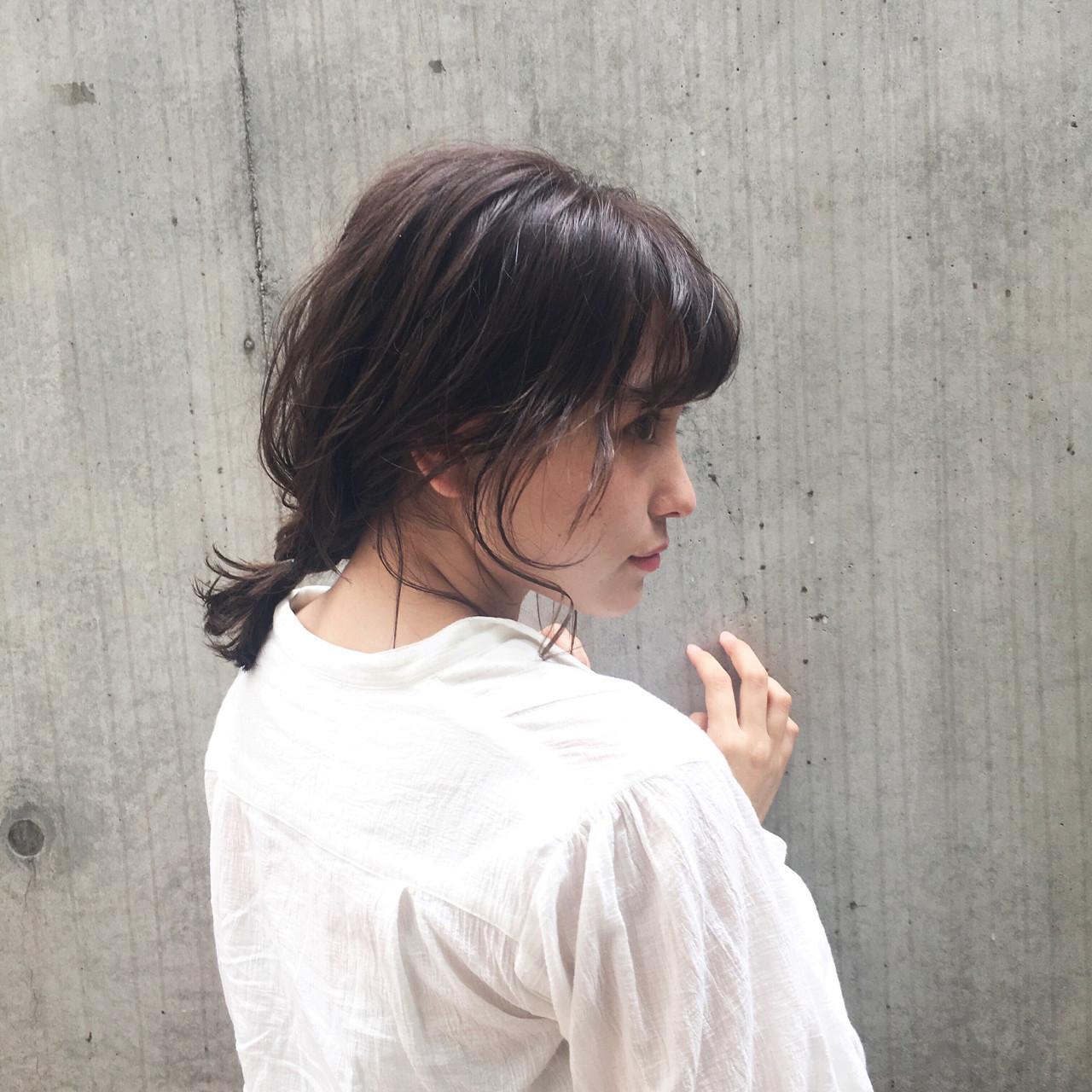 ヘアアレンジ 編み込み ミディアム ナチュラル ヘアスタイルや髪型の写真・画像