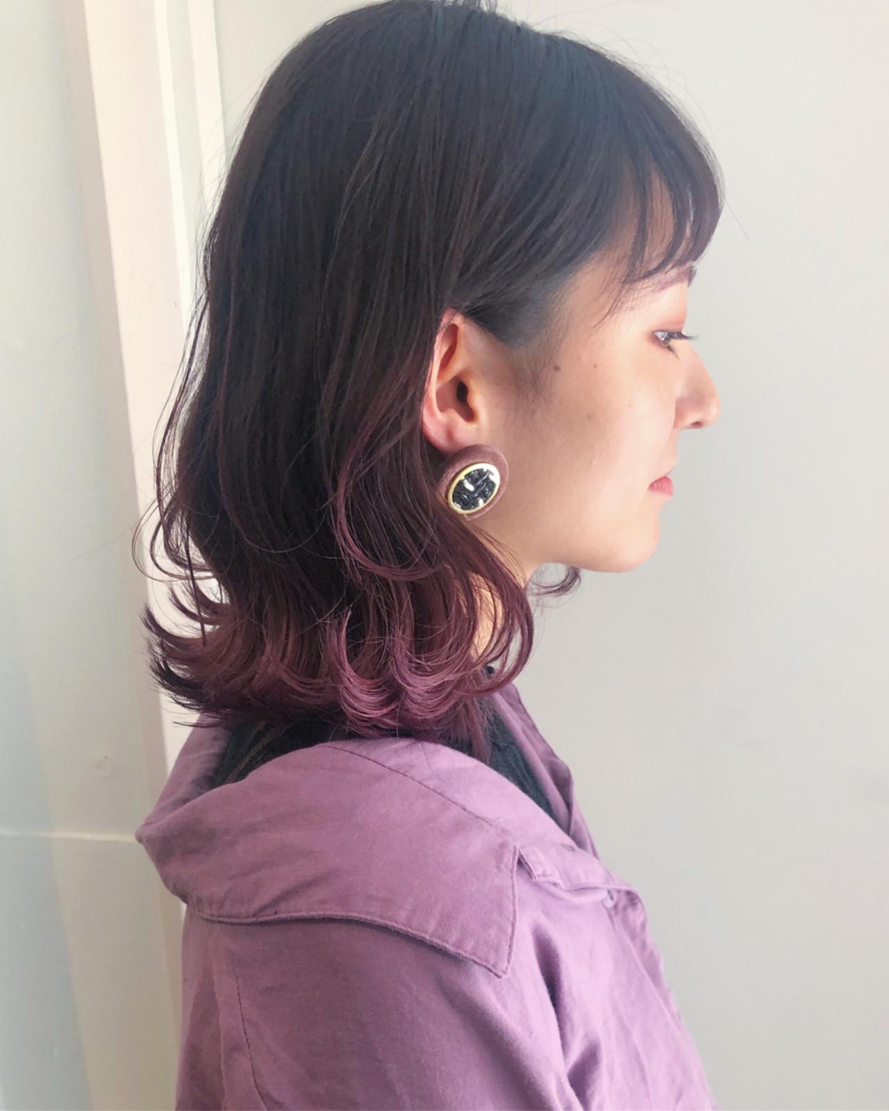 ミディアム 透明感 オルチャン ナチュラル ヘアスタイルや髪型の写真・画像