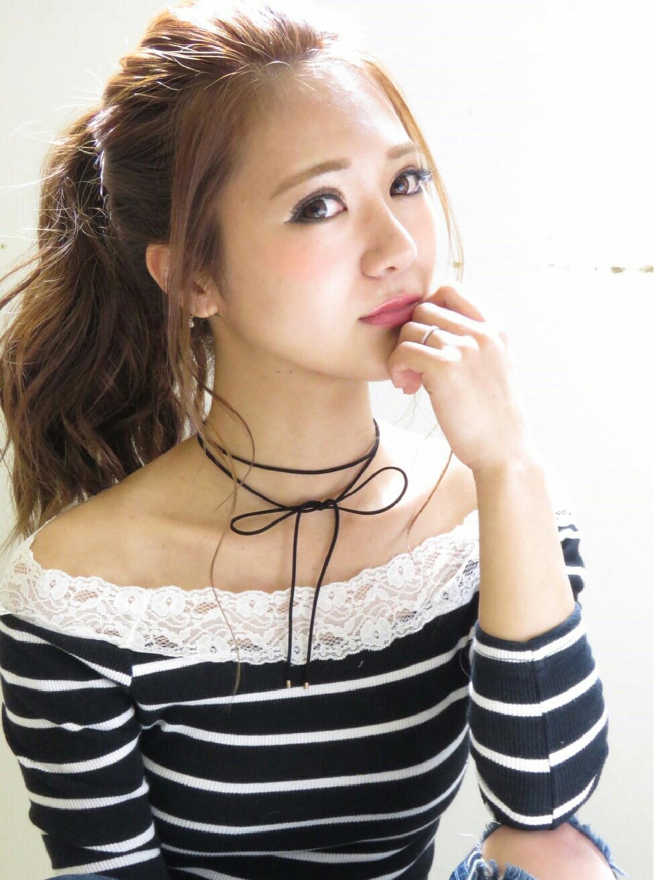 ガーリー ヘアアレンジ ポニーテール デート ヘアスタイルや髪型の写真・画像
