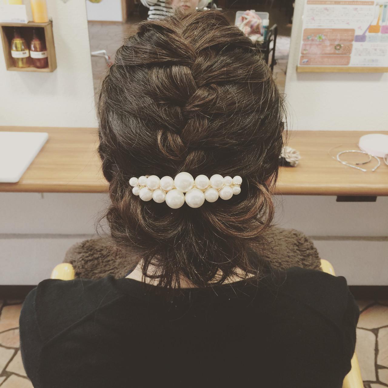 ショート 編み込み ヘアアレンジ 結婚式 ヘアスタイルや髪型の写真・画像