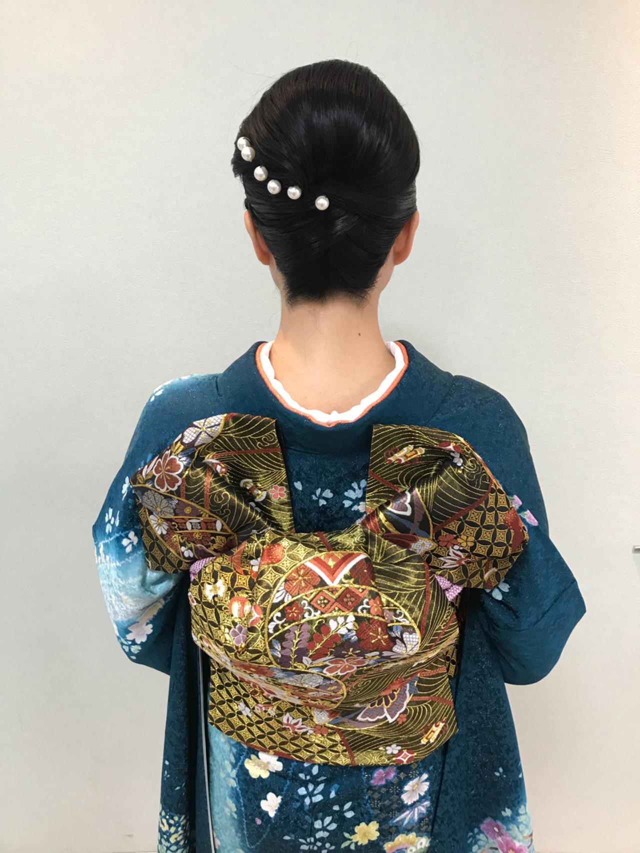 結婚式 エレガント ヘアアレンジ セミロング ヘアスタイルや髪型の写真・画像