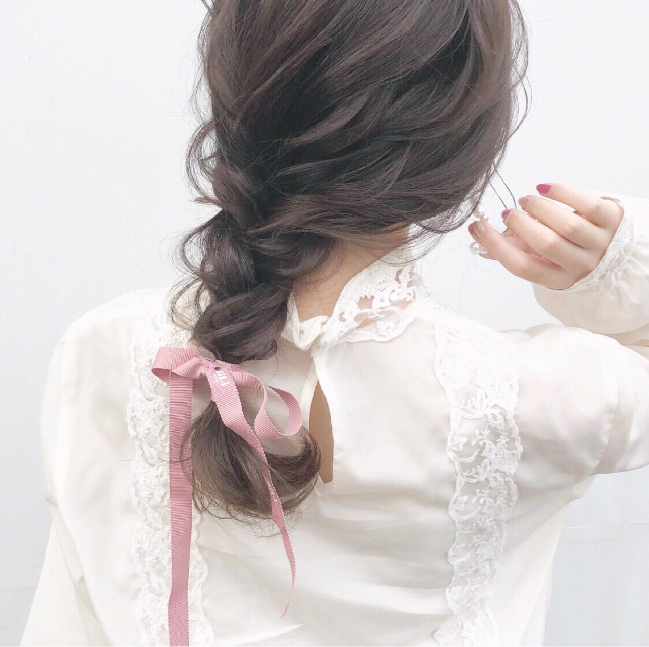 セミロング 大人かわいい 編み込み 簡単ヘアアレンジ ヘアスタイルや髪型の写真・画像