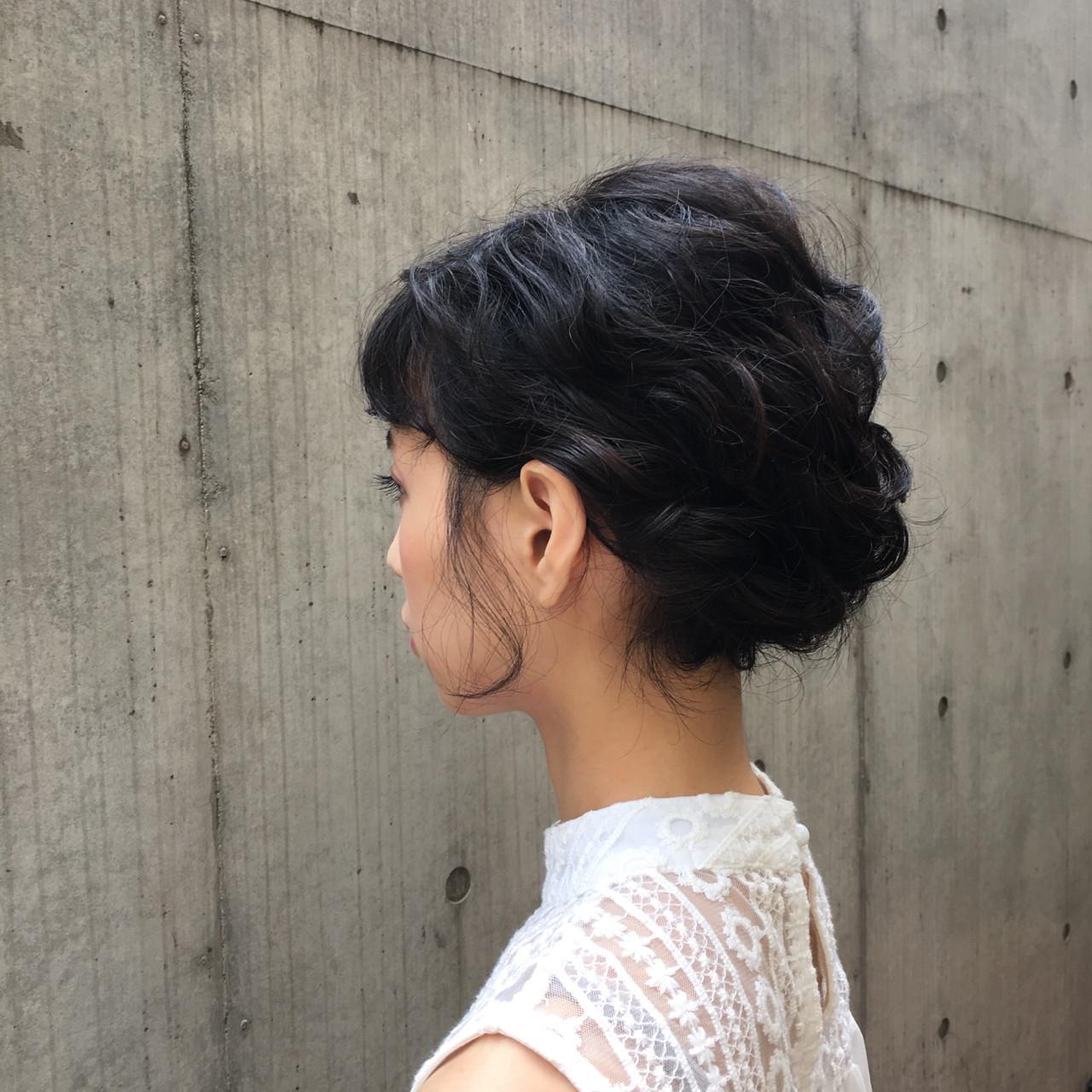 編み込み デート 大人かわいい ボブ ヘアスタイルや髪型の写真・画像