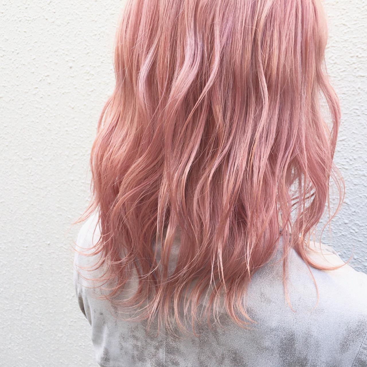 ピンク ストリート ピンクアッシュ ベージュ ヘアスタイルや髪型の写真・画像