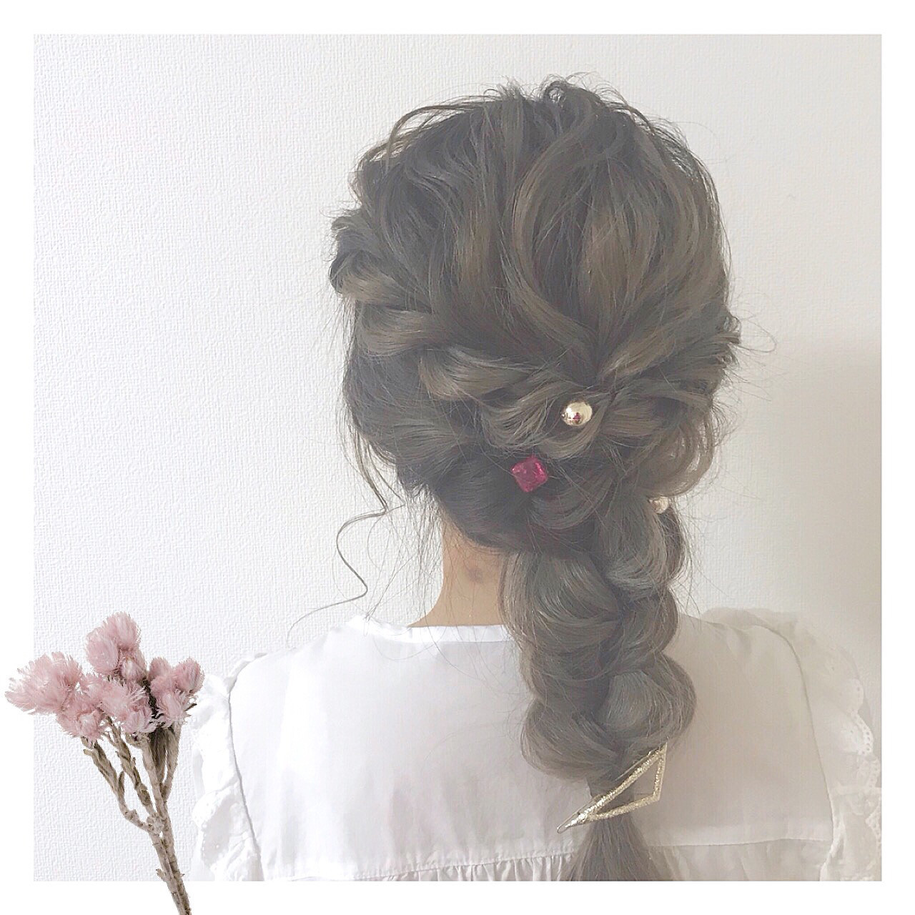 セミロング フェミニン 結婚式 アンニュイほつれヘア ヘアスタイルや髪型の写真・画像