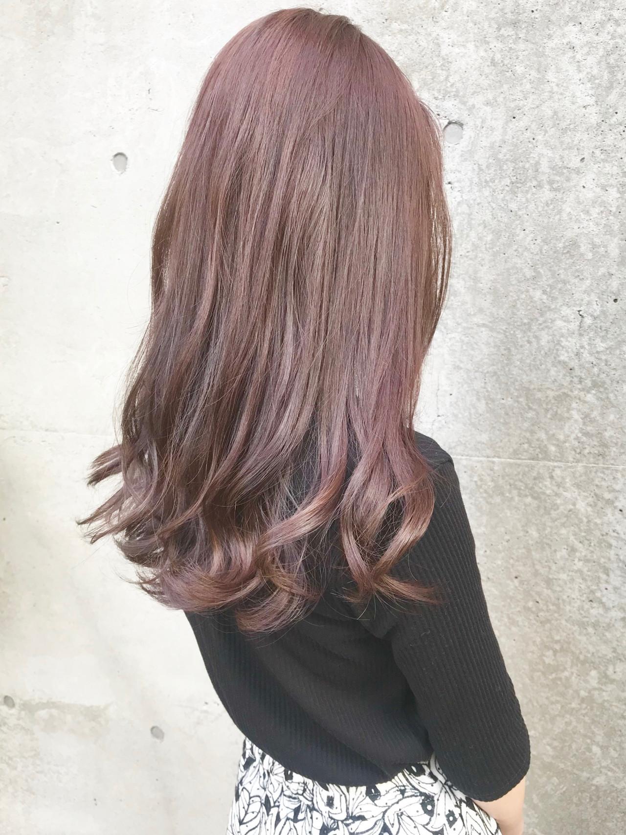 ロング フェミニン コーラル ベージュ ヘアスタイルや髪型の写真・画像