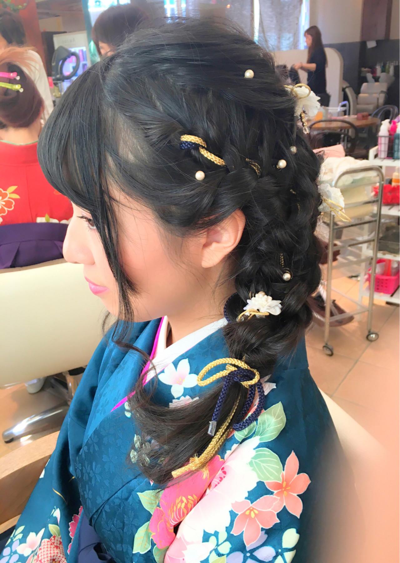 着物 ミディアム 編み込み ディズニー ヘアスタイルや髪型の写真・画像