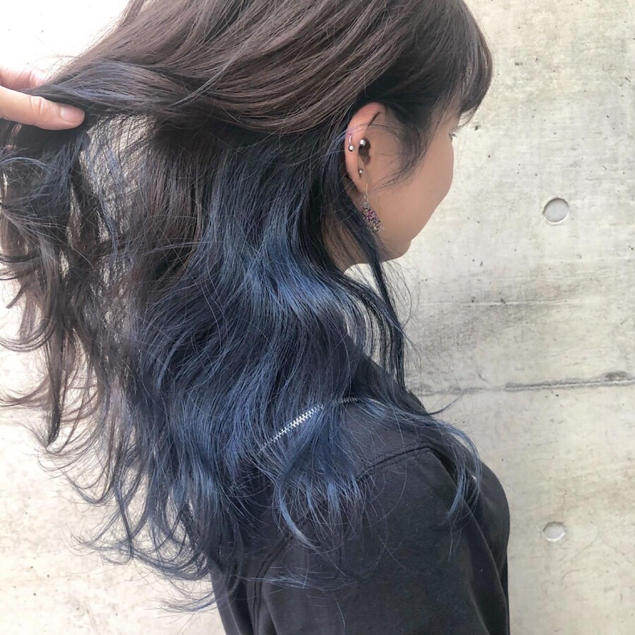 ネイビー ストリート インナーカラー 外国人風カラー ヘアスタイルや髪型の写真・画像