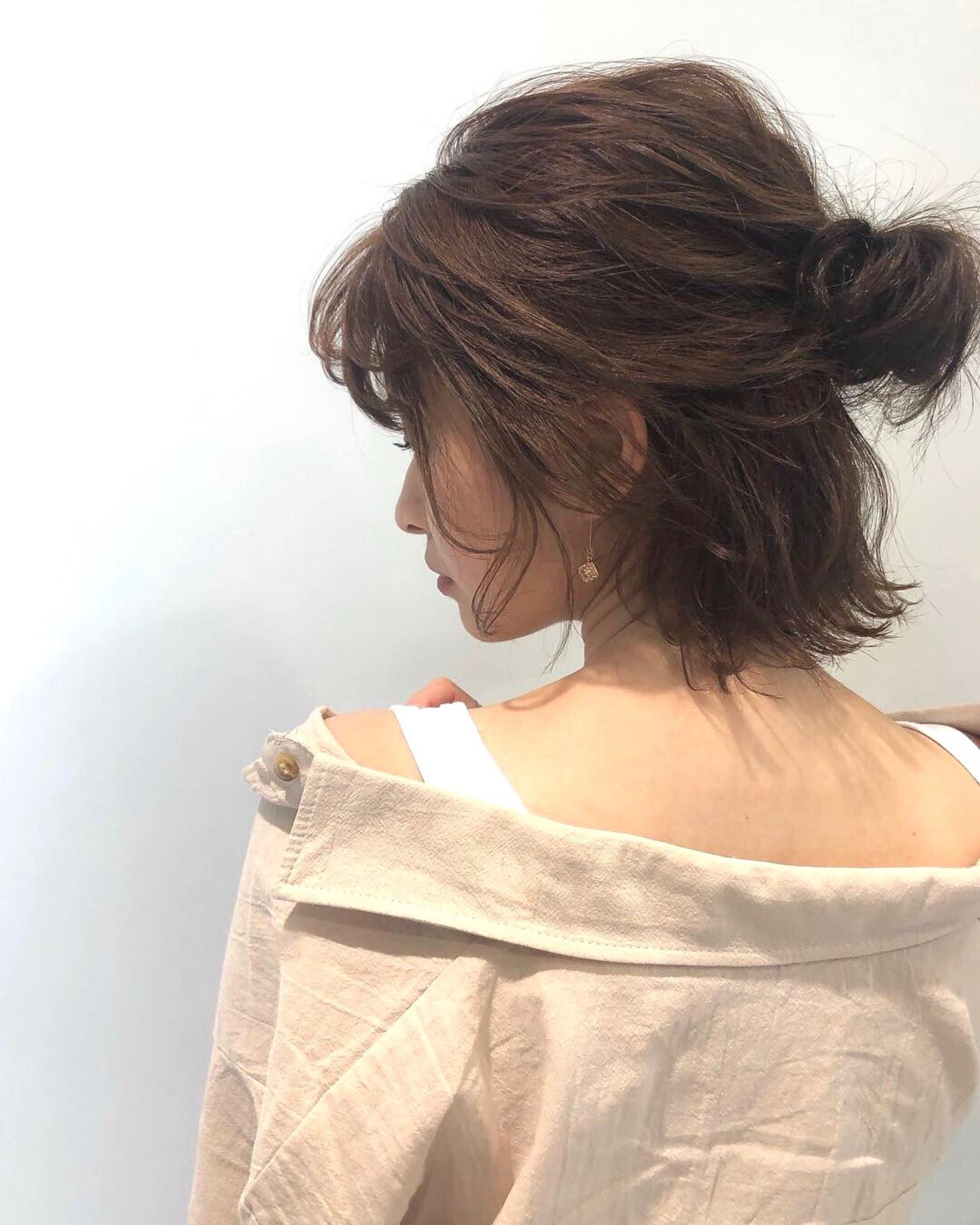 ボブ 外ハネ 簡単ヘアアレンジ ナチュラル ヘアスタイルや髪型の写真・画像