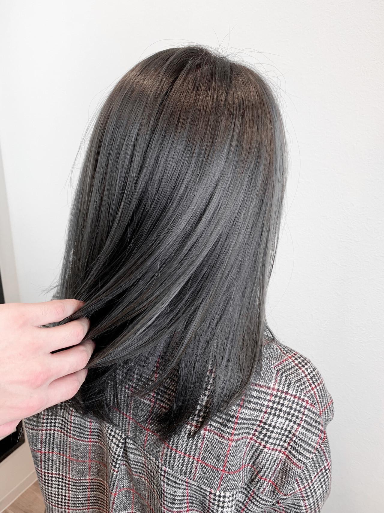 3Dカラー ミディアム ハイライト 上品 ヘアスタイルや髪型の写真・画像