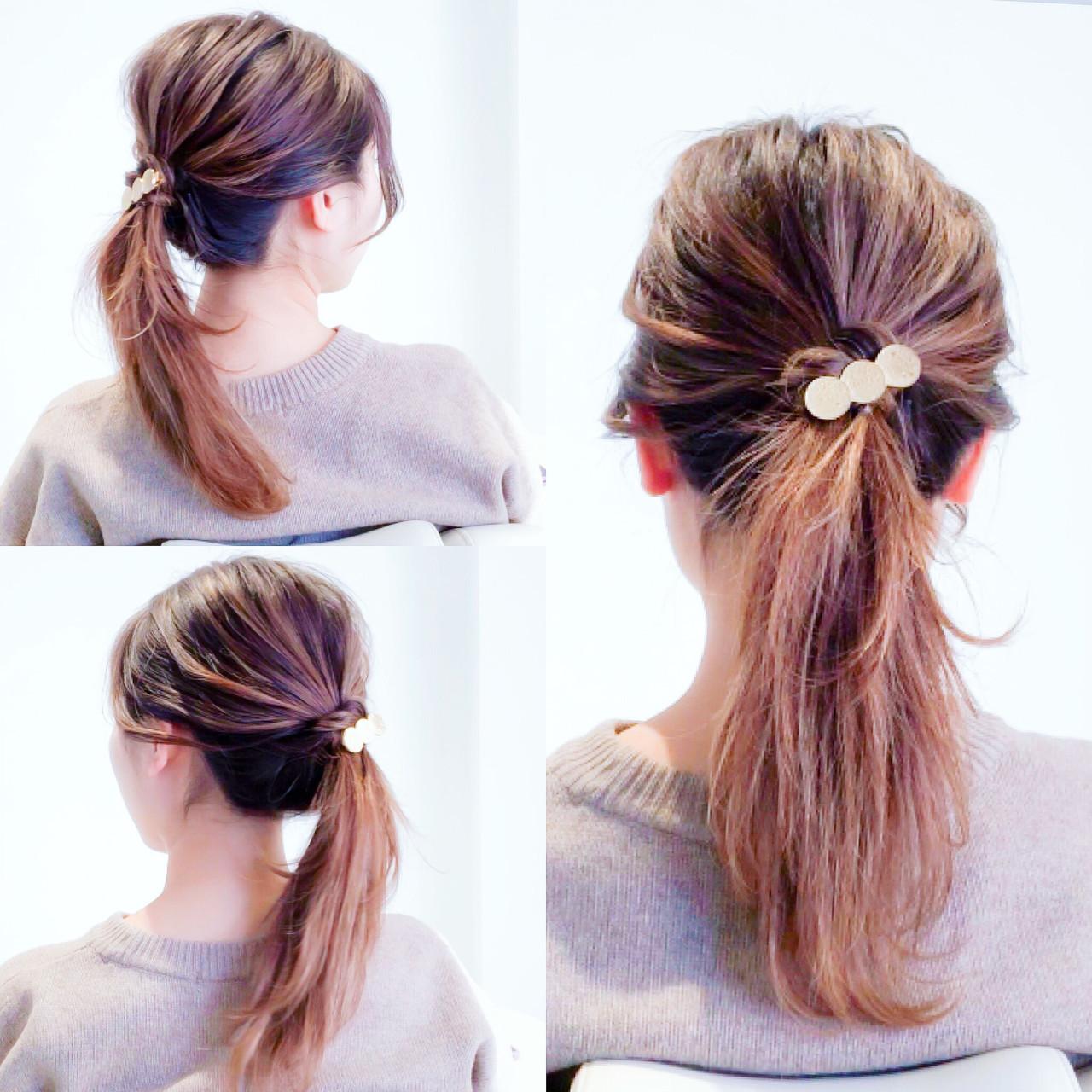 ロング フェミニン ポニーテール ヘアアレンジ ヘアスタイルや髪型の写真・画像