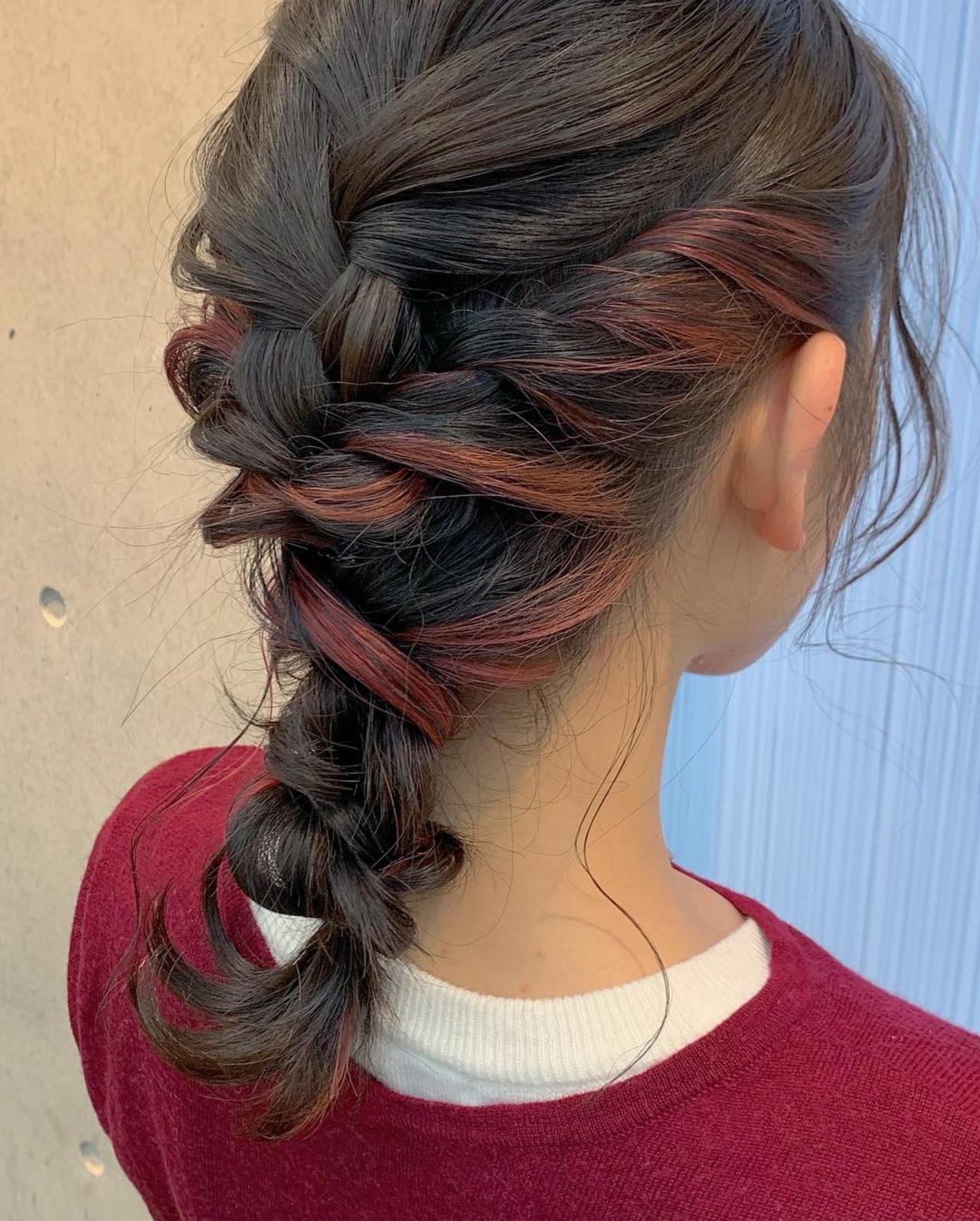 カラーが楽しめる♡編み込み×ねじりのまとめ髪 アヤ