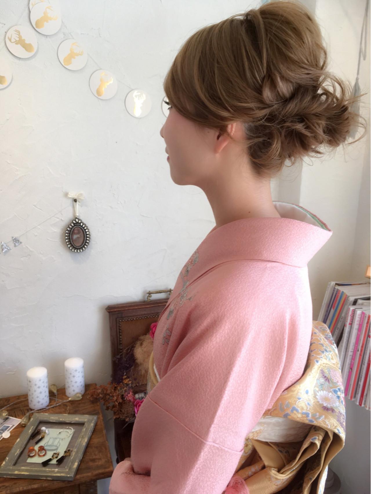 ミディアム 上品 結婚式 着物 ヘアスタイルや髪型の写真・画像