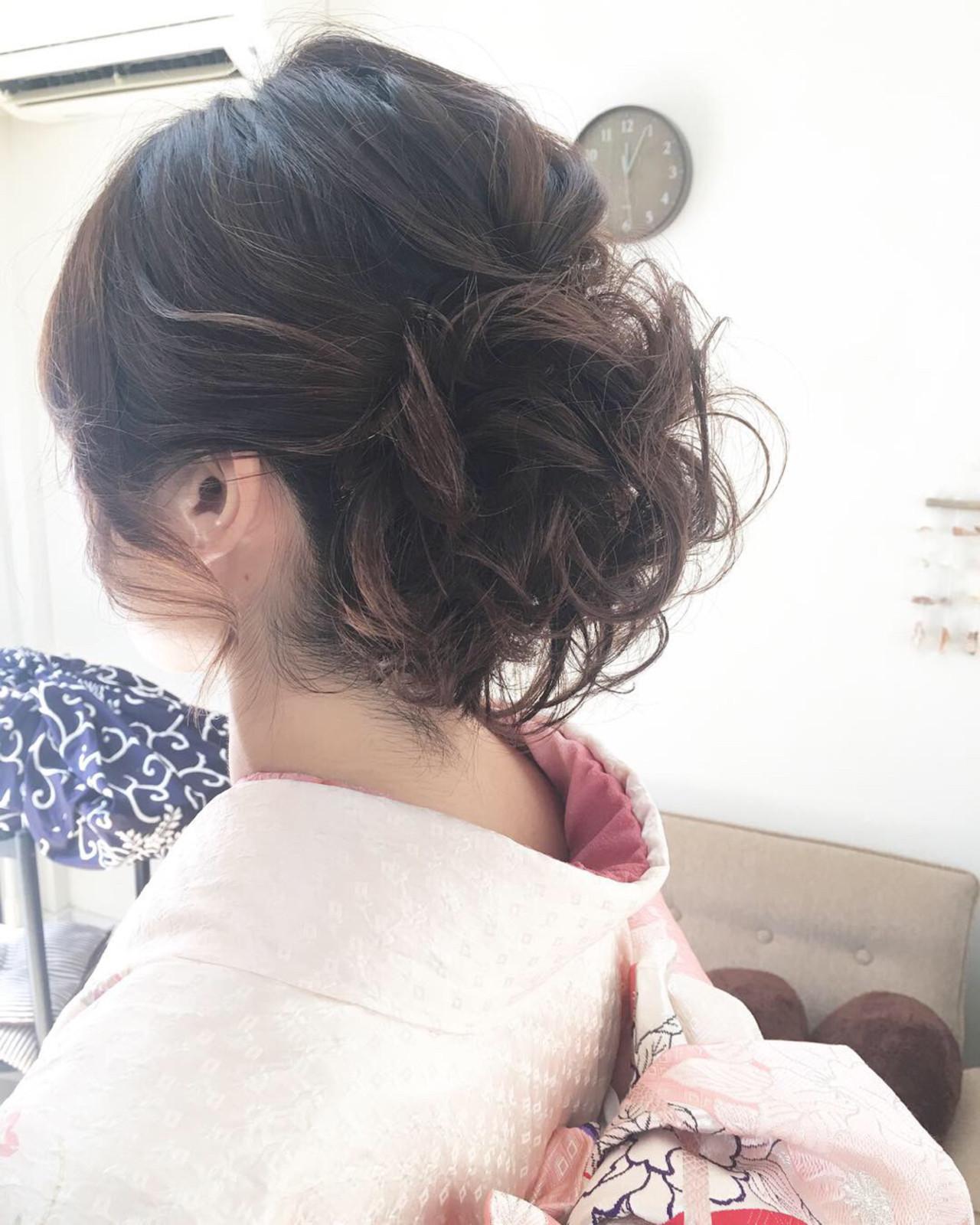 着物 ボブ 結婚式 上品 ヘアスタイルや髪型の写真・画像