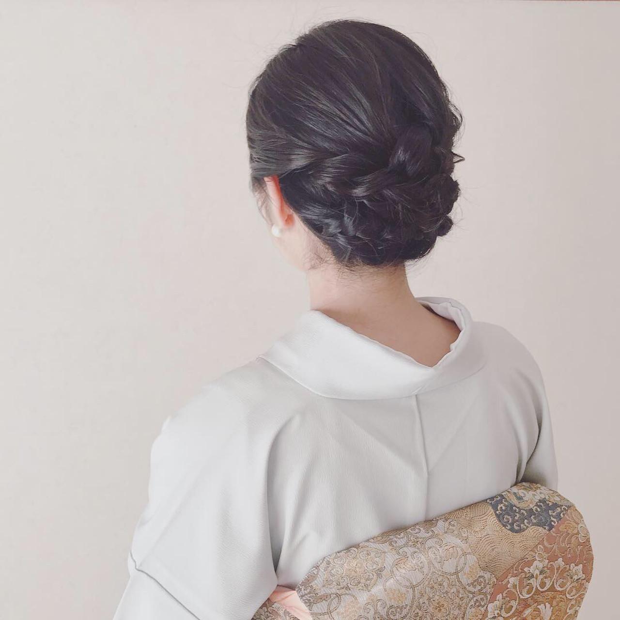 ミディアム 結婚式 着物 上品 ヘアスタイルや髪型の写真・画像