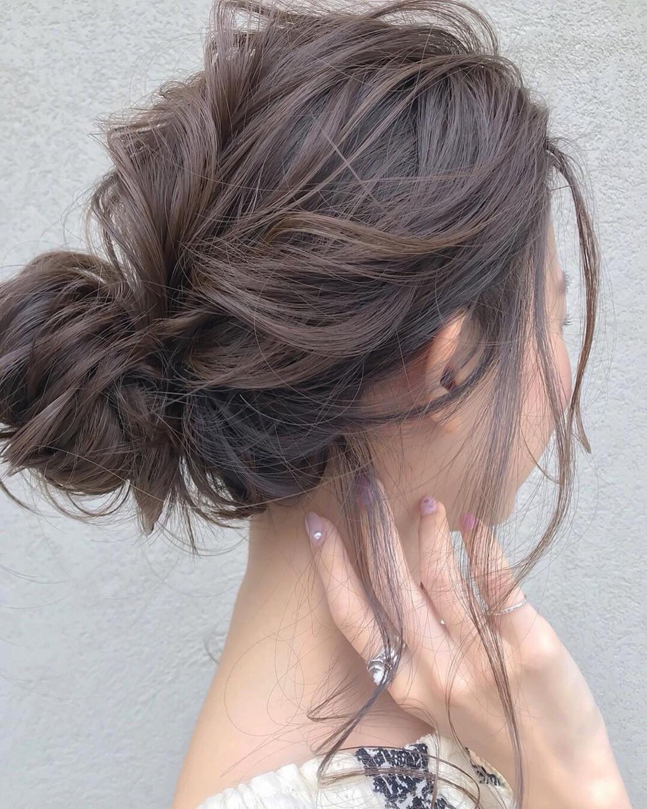 外国人風カラー 簡単ヘアアレンジ ヘアアレンジ ヌーディベージュ ヘアスタイルや髪型の写真・画像