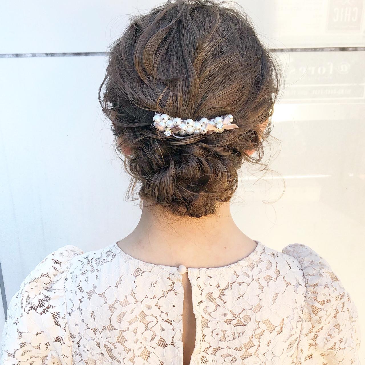 シニヨン セミロング ヘアアレンジ 結婚式ヘアアレンジ ヘアスタイルや髪型の写真・画像
