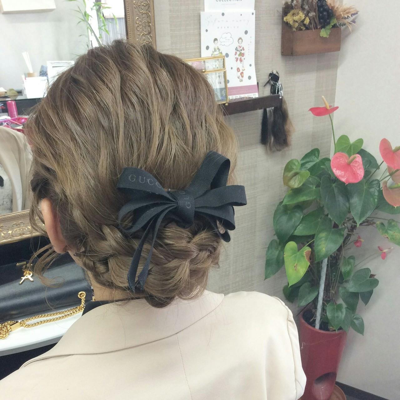 ミディアム ナチュラル ヘアアレンジ 編み込み ヘアスタイルや髪型の写真・画像