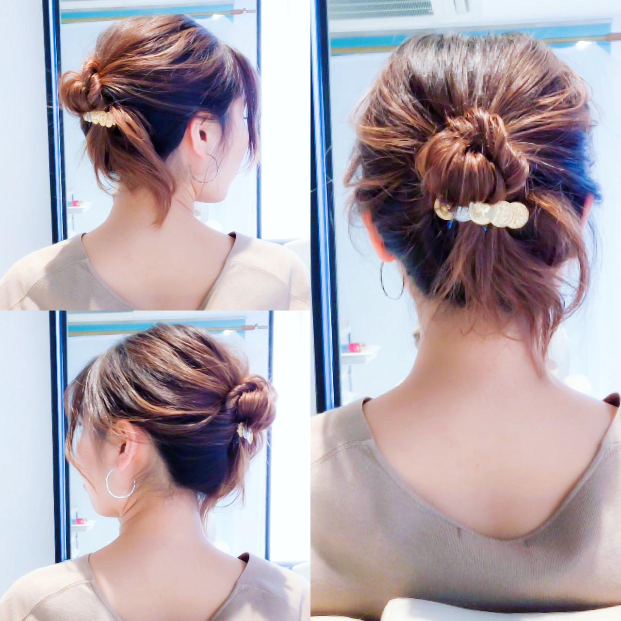 ロング セルフヘアアレンジ ヘアアレンジ フェミニン ヘアスタイルや髪型の写真・画像