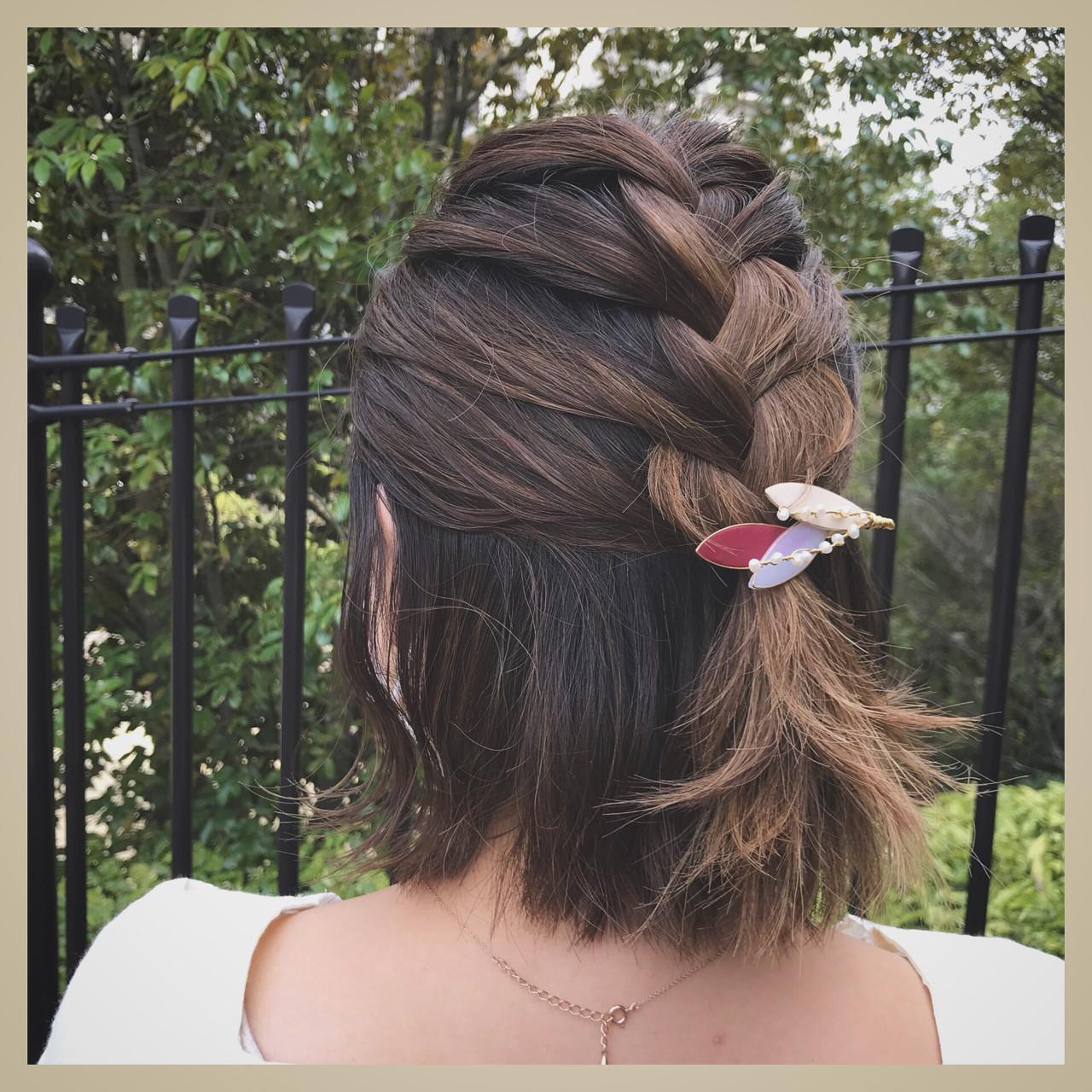 ハーフアップ グラデーションカラー 編み込み 簡単ヘアアレンジ ヘアスタイルや髪型の写真・画像
