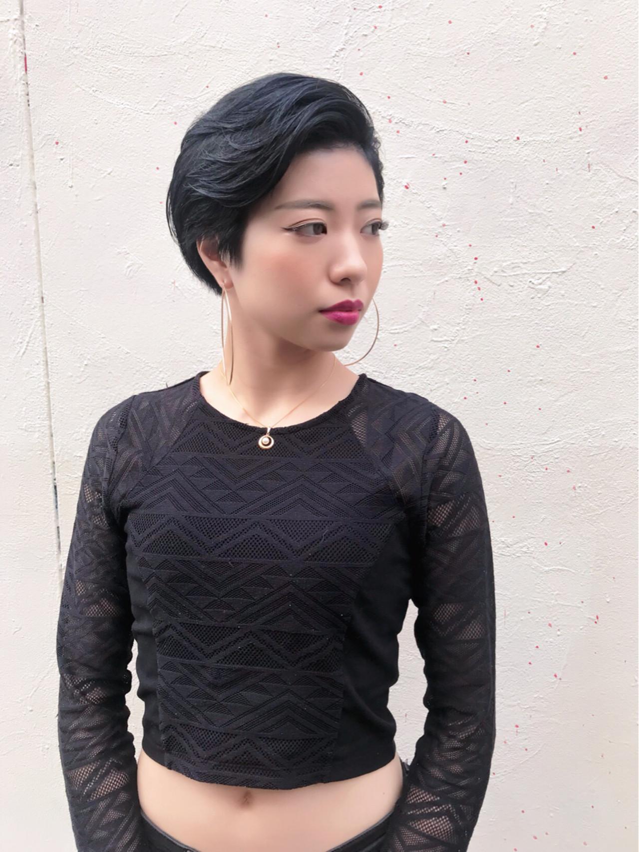 黒髪 モード ベリーショート ブルーブラック ヘアスタイルや髪型の写真・画像