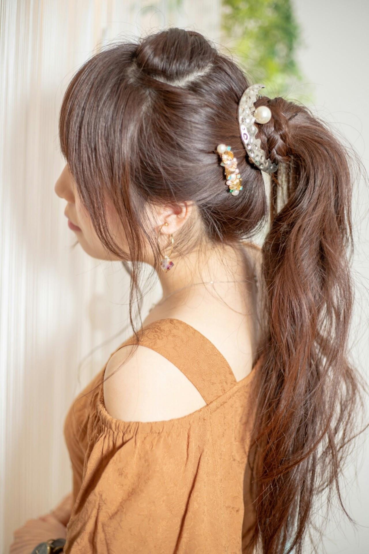 後れ毛 ポニーテール バレッタ ヘアアレンジ ヘアスタイルや髪型の写真・画像