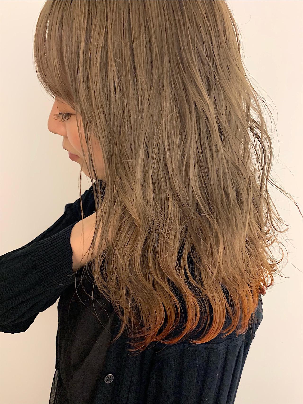 ナチュラル 裾カラー デート ロブ ヘアスタイルや髪型の写真・画像