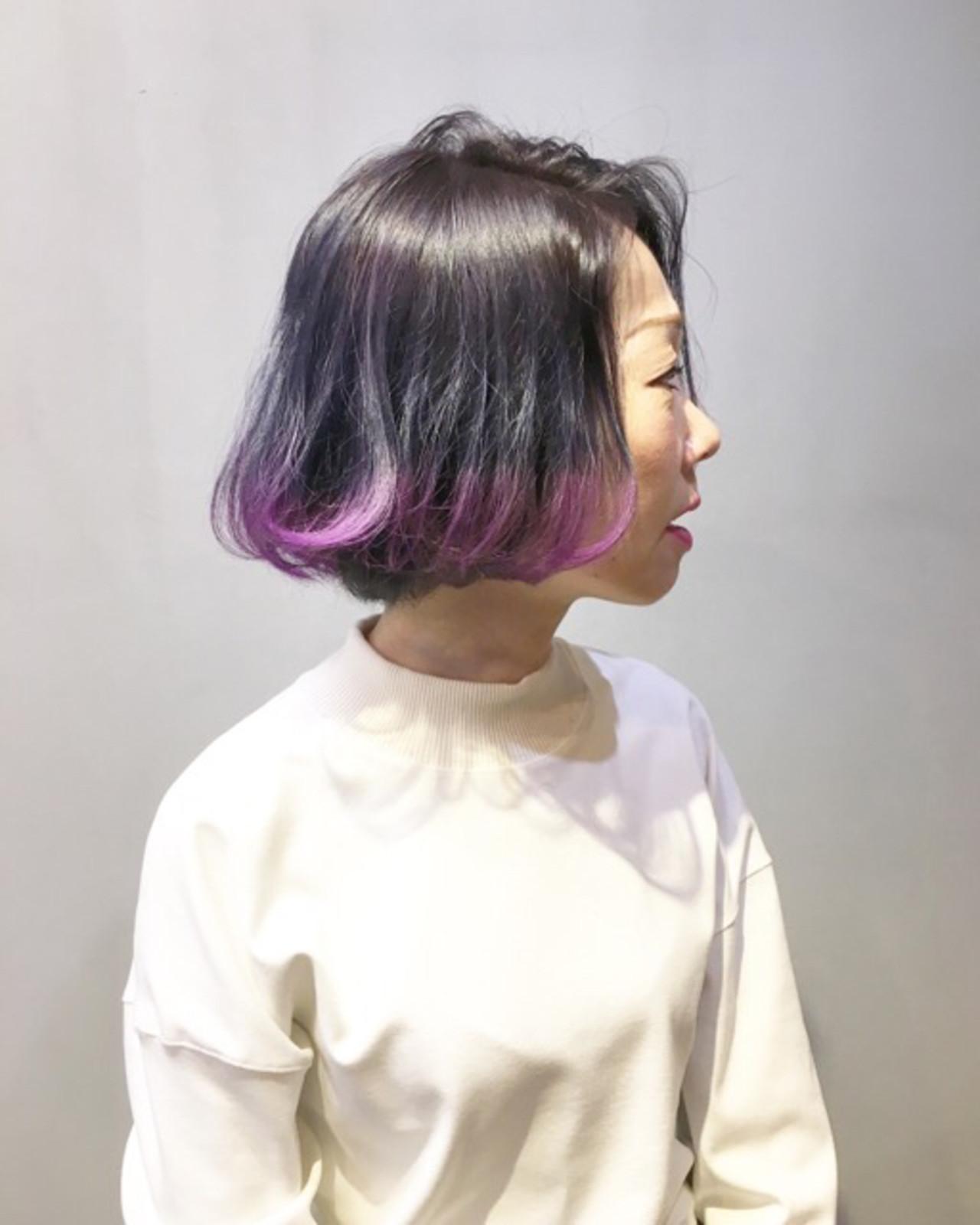 パープルアッシュ パープル ボブ パープルカラー ヘアスタイルや髪型の写真・画像
