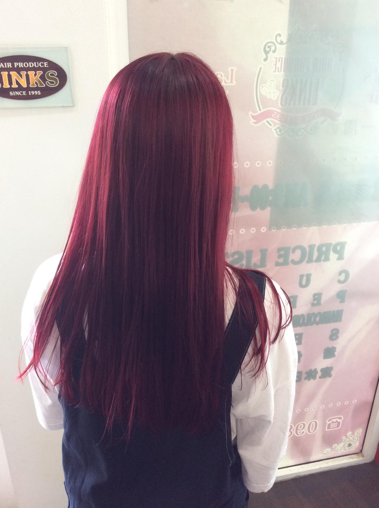 ロング ガーリー ラベンダーピンク チェリーピンク ヘアスタイルや髪型の写真・画像