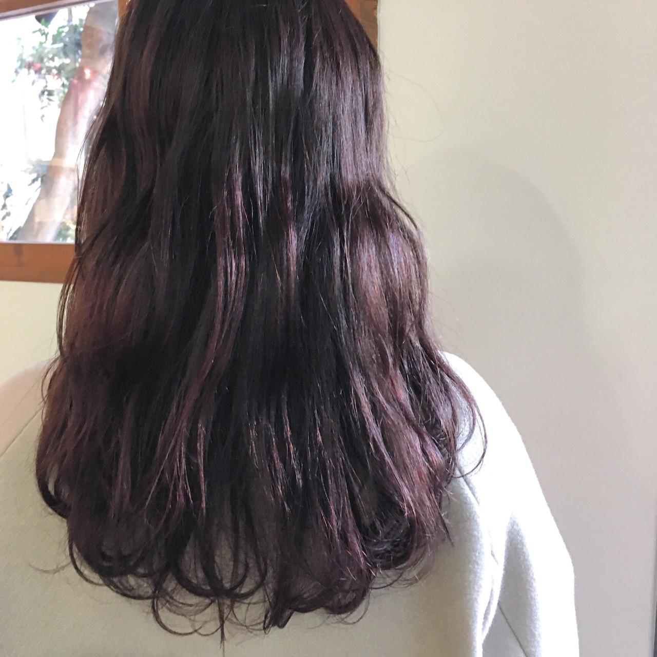 ガーリー ヘアアレンジ パープル セミロング ヘアスタイルや髪型の写真・画像