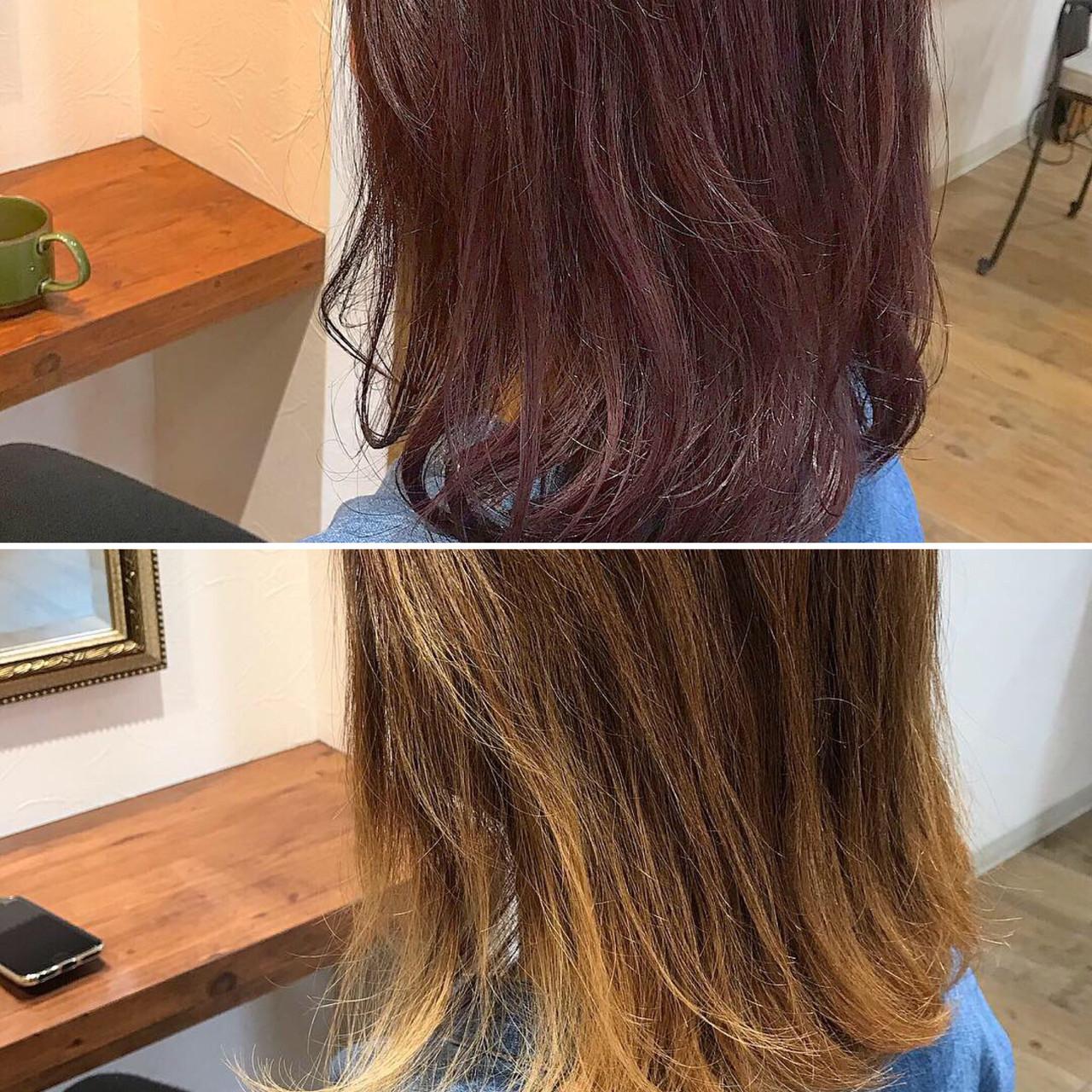 パープルアッシュ モード ワンカールスタイリング パープル ヘアスタイルや髪型の写真・画像