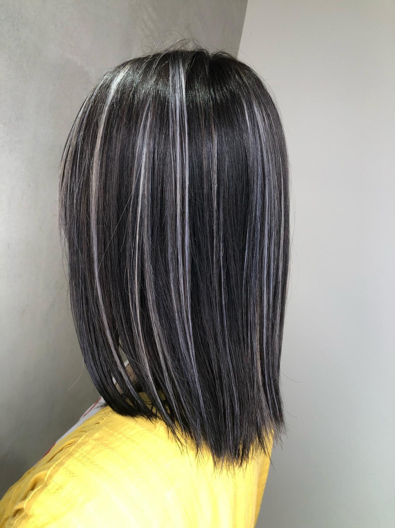外国人風になれる黒髪に合わせたいおしゃれなハイライトカラー 筒井 隆由Hair salon mode