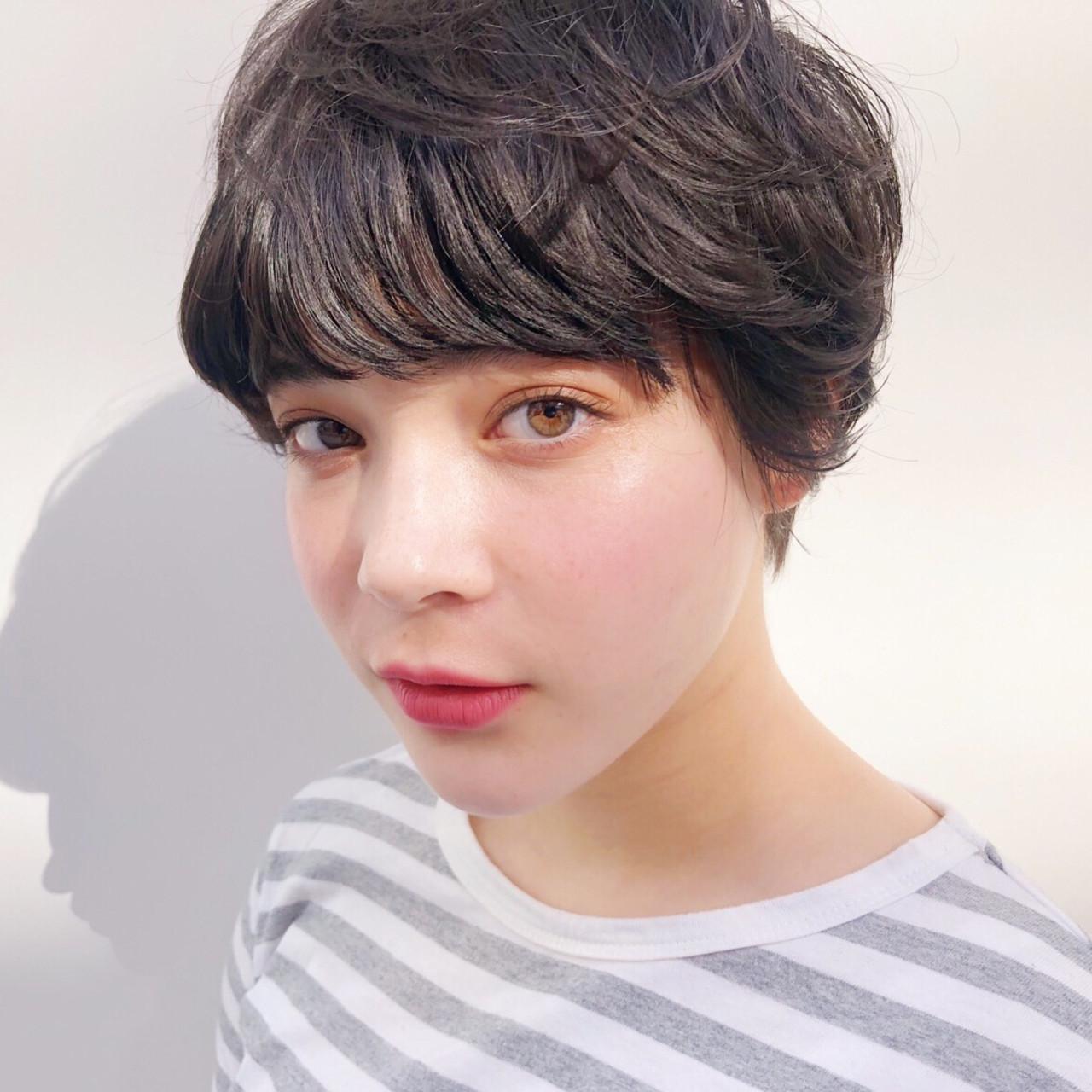 アンニュイほつれヘア マッシュショート ショート 透け感ヘア ヘアスタイルや髪型の写真・画像