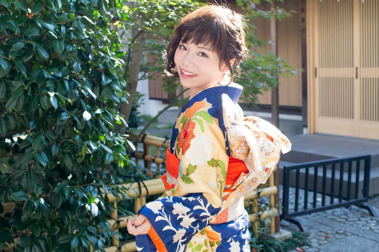 着物 簡単ヘアアレンジ ショート ヘアアレンジ ヘアスタイルや髪型の写真・画像